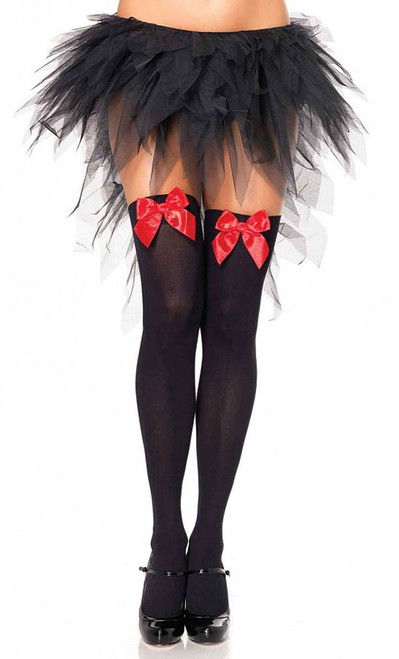 Black Thigh High with Red Bow