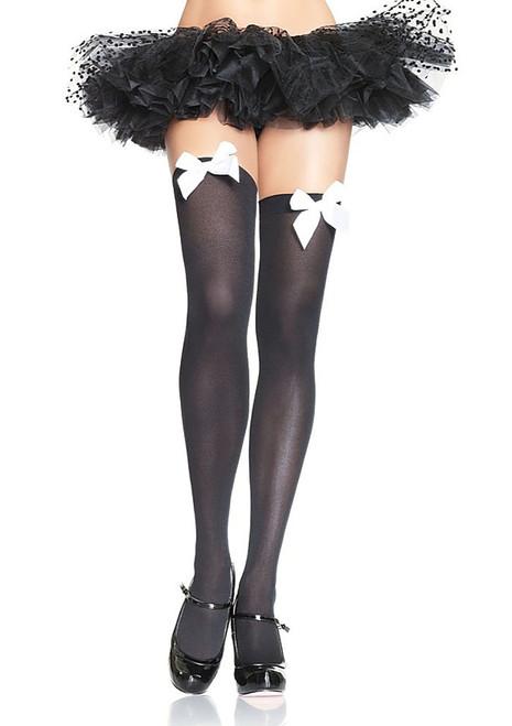 Black Thigh Highs White Bow