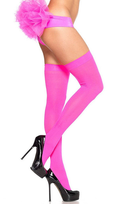 Pink Opaque Thigh Highs
