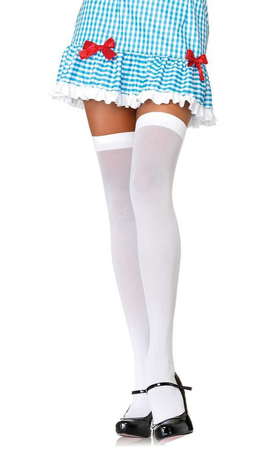 Opaque Nylon Thigh Highs White