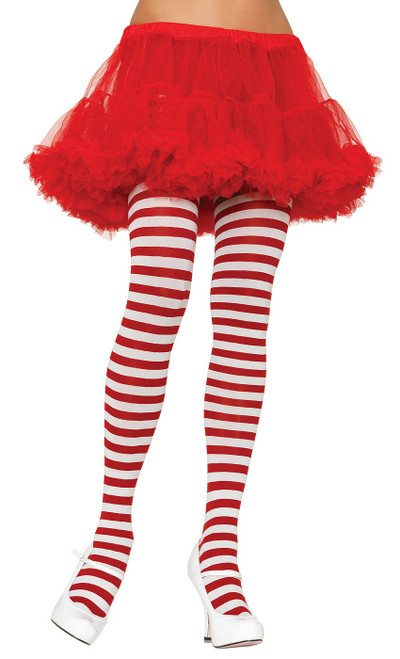 Nylon Striped Tights White/Red