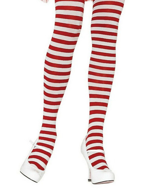 Nylon Striped Tights White/Red for women