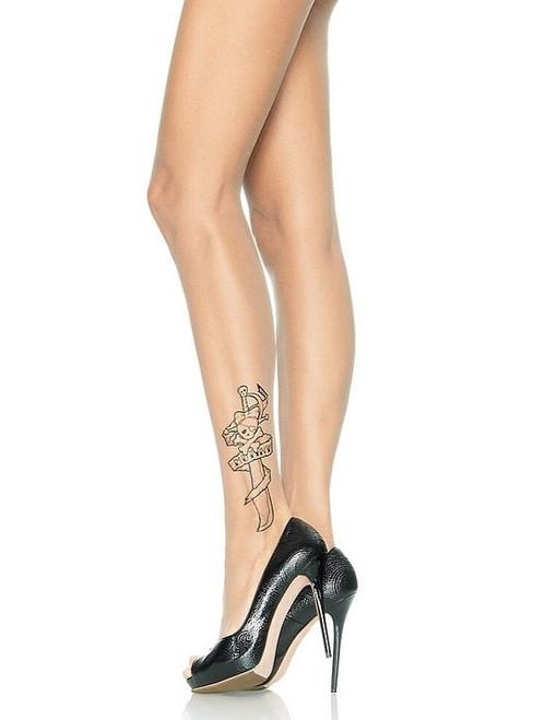 Sheer Tattoo Print Pantyhose