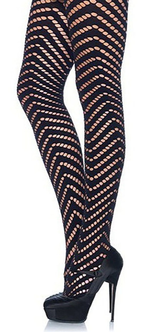 Woven Argyle Cutout Tights