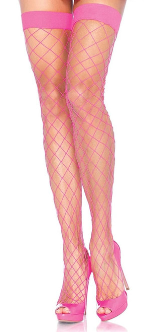 Fence Net Thigh Highs Pink