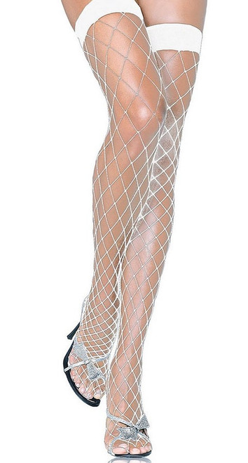 Industriel Net Thigh Highs White