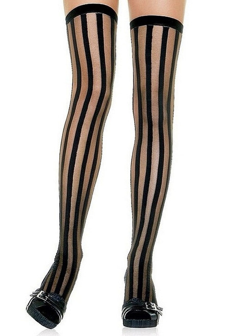 Sheer Stockings Vertical Stripes