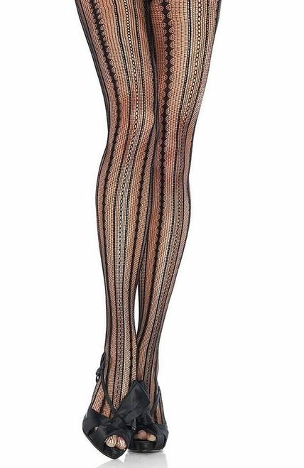 Vintage Pinstriped Net Pantyhose