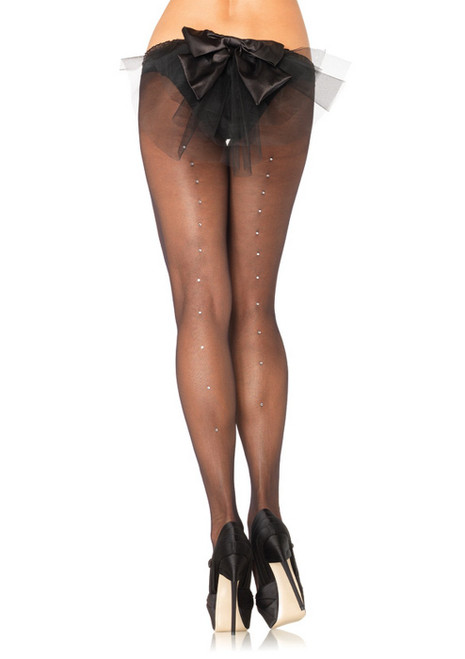Sheer Rhinestone Pantyhose Queen