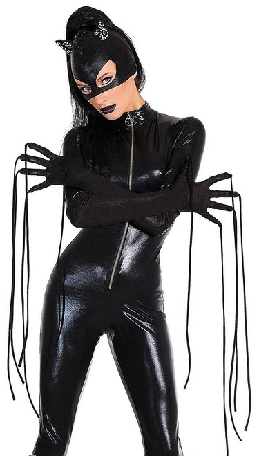 Wet Look Gloves with Whips
