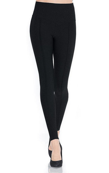 Mondor Front Tone on Tone Strip Leggings Black