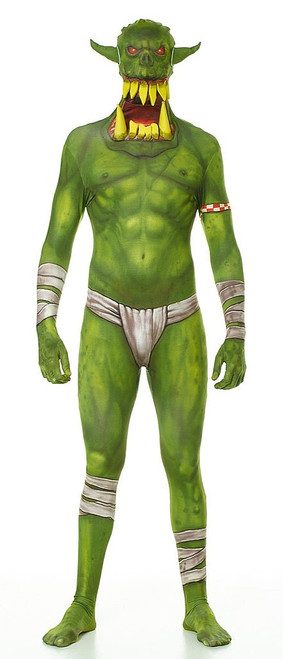 Green Orc Jaw Dropper Kids Morphsuit Costume