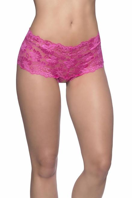 Crotchless Lace Boyshort Pink