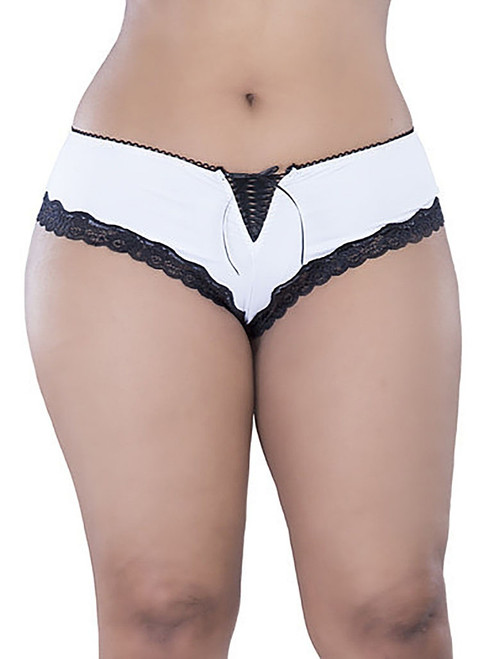 Plus Size Lace-Up Boyshort White & Black lace