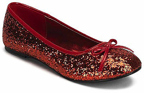 Red Glitter Star Flat Shoes