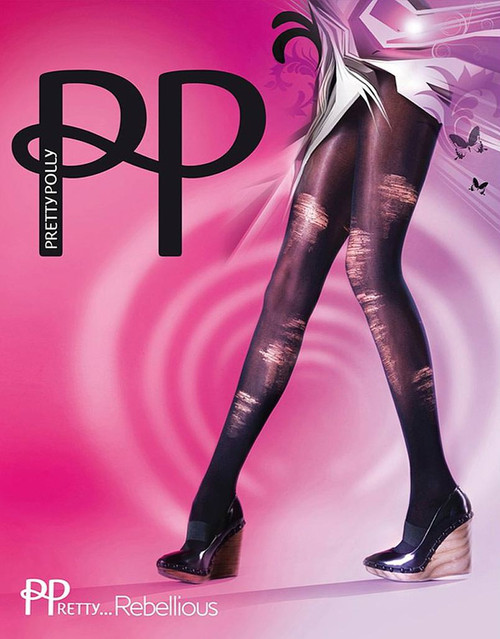 Pretty Polly Fabulous Fashion Rebellious Shredded Tights