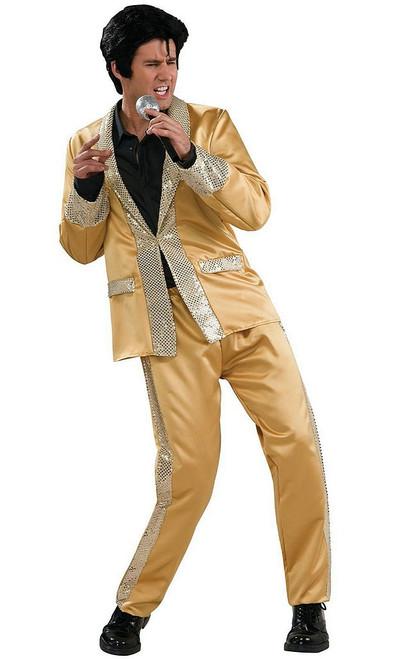 Deluxe Elvis Gold Satin Suit Costume