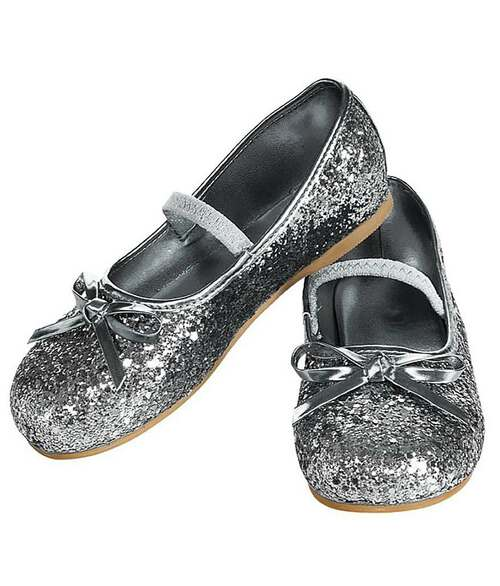 Silver Glitter Flat Shoes for Kids