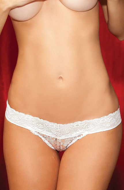 Show Off Sequin Thong White