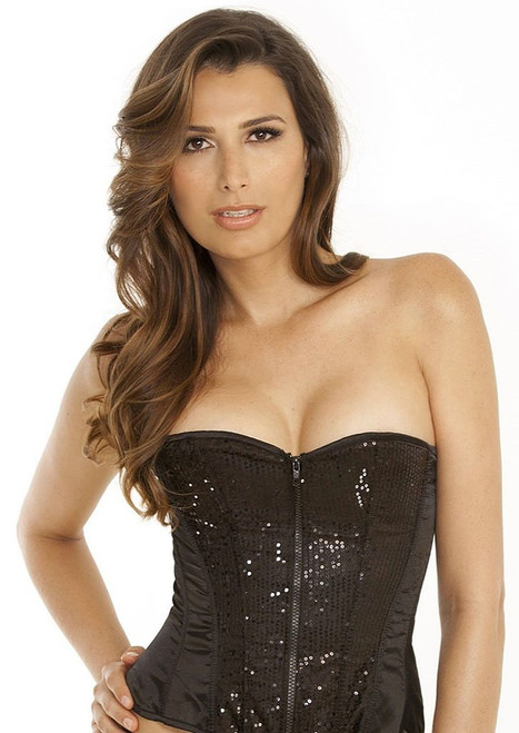 Black Sequin Zip-Up Corset