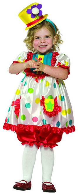 Colourful Toddler Clown Costume Girl