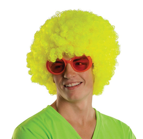 Neon Yellow Afro Wig