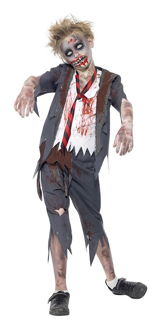 Zombie School Boy Costume Grey