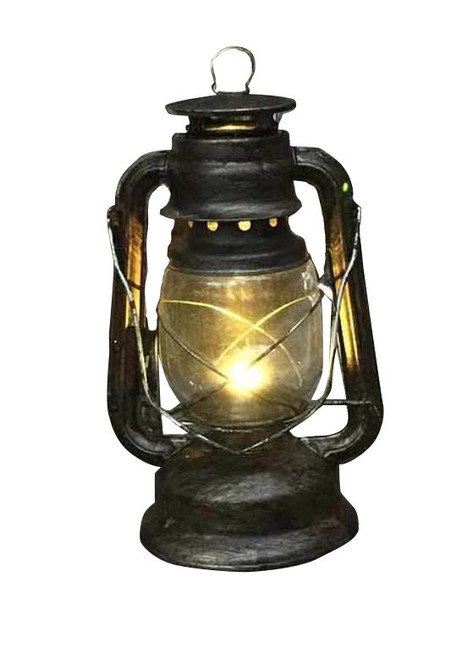 "Light Up Silver Antique Lantern Deluxe Decor 11"" Zoom"