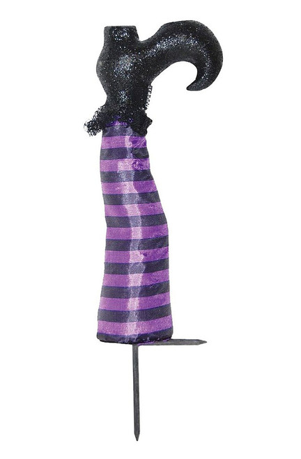 Purple Witch Leg Stake Pumpkin Decor (2 pieces)