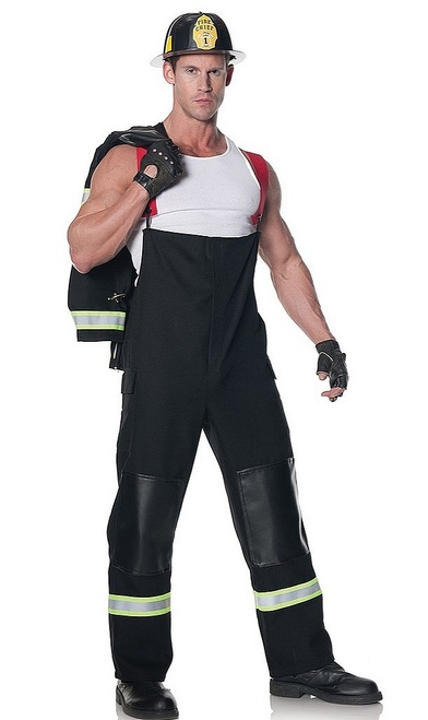 Rescuer Firefighter Black Costume