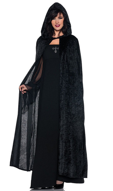 Long Black Velvet Cape