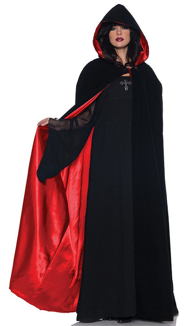 Velvet & Satin Cape Red