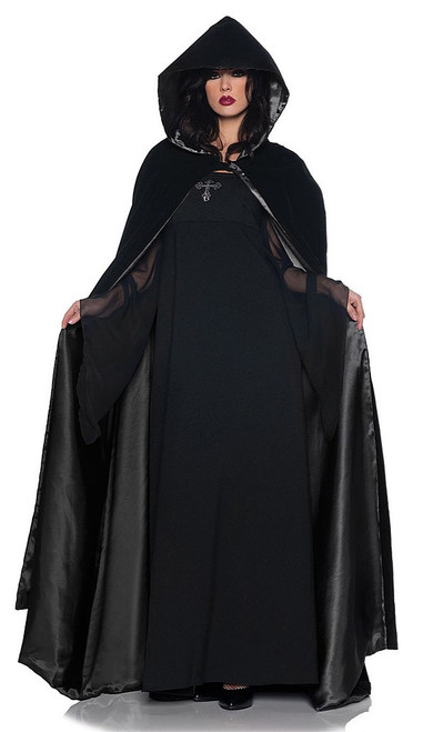 Velvet & Satin Cape Black