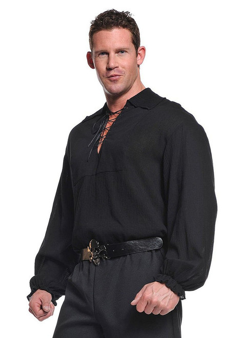 Pirate Shirt Lace Front Black