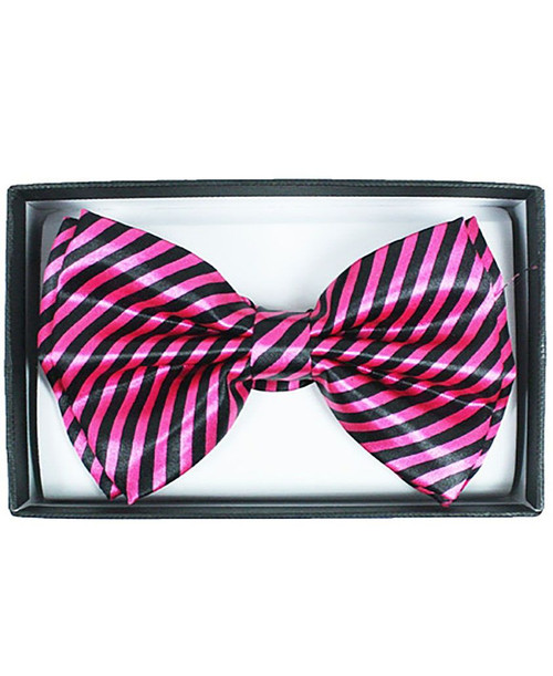Hot Pink Striped Adult Bow Tie