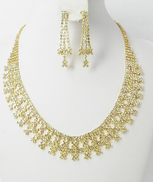 Crystal in Gold Necklace set