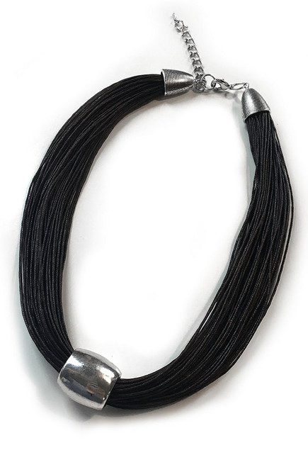 Black Necklace with Silver