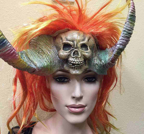 Mask with Horns and Hair Red