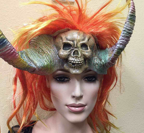 Head Mask with Wig- Fire Orange