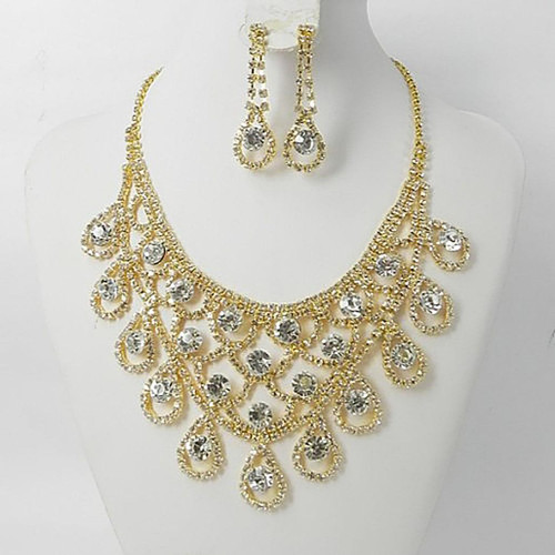Clear Crystal Gold Necklace