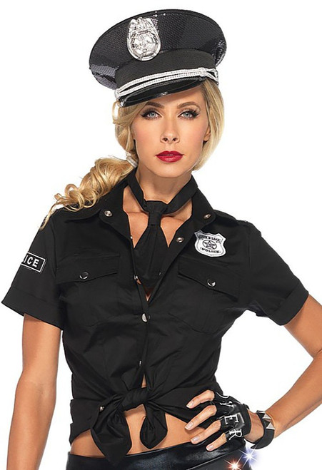 Womens Black Police Shirt