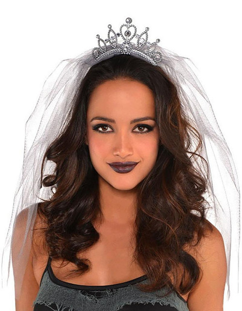 Grey Veiled Tiara