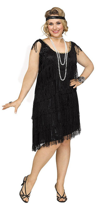 Black Shimmery Flapper Plus