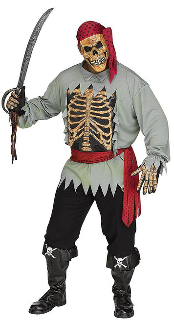 Skeleton Pirate Costume Plus