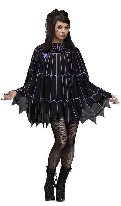 Black & Purple Spiderweb Poncho