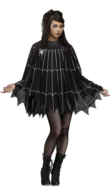 Black & Silver Spiderweb Poncho
