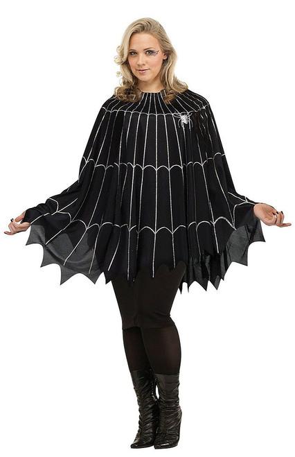 Black/Silver Plus Spiderweb Poncho