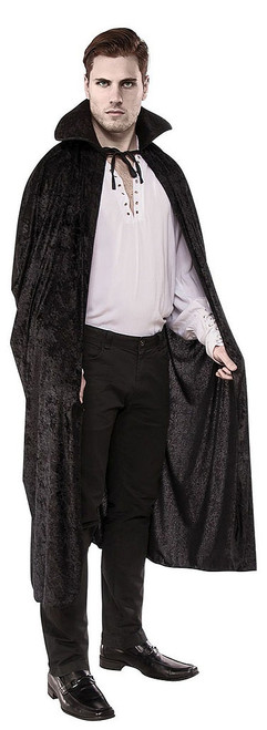 Long Black Collared Cape