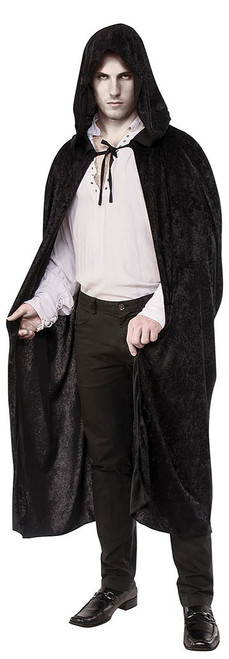 Long Black Hooded Cape