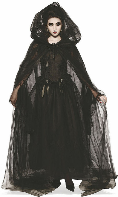 Sheer Black Hooded Cape